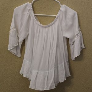 White Off the Shoulder Blouse with detailing